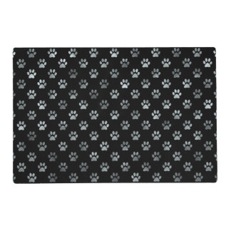 Dog Paw Print Silver Gray Black Background Placemat