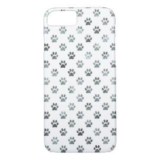 Dog Paw Print Silver Gray White Metallic Faux Foil iPhone 8/7 Case
