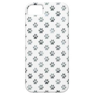 Dog Paw Print Silver Gray White Metallic Faux Foil iPhone SE/5/5s Case