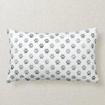 Dog Paw Print Silver Gray White Metallic Faux Foil Lumbar Pillow