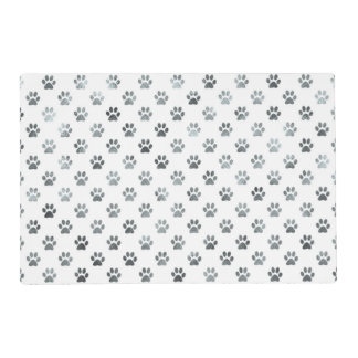 Dog Paw Print Silver Gray White Metallic Faux Foil Placemat