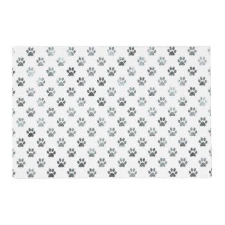 Dog Paw Print Silver Gray White Metallic Faux Foil Placemat