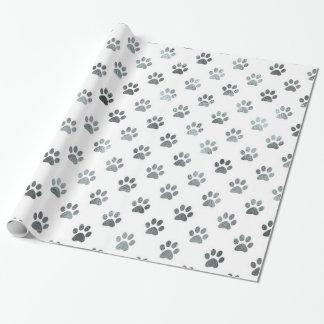 Dog Paw Print Silver Gray White Metallic Faux Foil Wrapping Paper