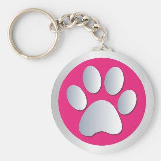Dog paw print silver pink keychain gift idea