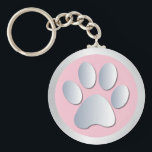 "Dog paw print  silver, pink keychain, gift idea keychain<br><div class=""desc"">Beautiful pink and silver pet dog or cat paw print keychain,  keyring.  great gift idea for dog lovers</div>"