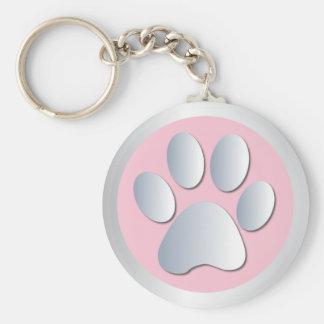 Dog paw print  silver, pink keychain, gift idea keychain