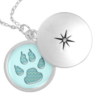 dog paw print silver plated necklace