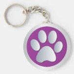Dog paw print  silver, purple keychain, gift idea basic round button keychain