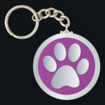 """Dog paw print  silver, purple keychain, gift idea keychain<br><div class=""""desc"""">Beautiful purple and silver pet dog or cat paw print keychain,  keyring.  great gift idea for dog lovers</div>"""