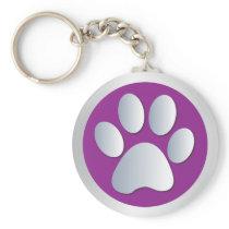 Dog paw print  silver, purple keychain, gift idea keychain