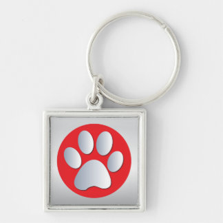 Dog paw print  silver, red keychain, gift idea