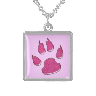 dog paw print sterling silver necklace