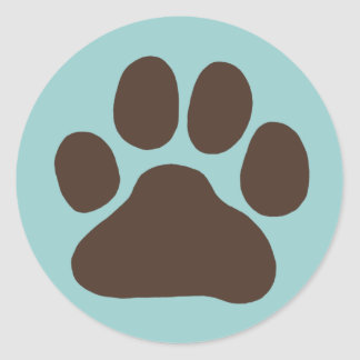 Dog Paw Print Round Sticker