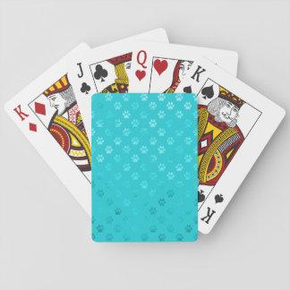 Dog Paw Print Teal Blue Aqua Faux Metallic Playing Cards