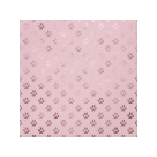 Dog Paw Print Vintage Rose Pink Background Canvas Prints