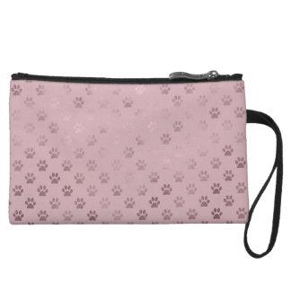 Dog Paw Print Vintage Rose Pink Background Wristlet Wallet