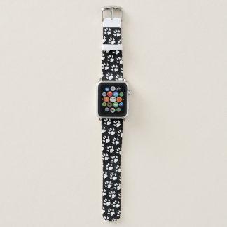Dog Paw Print White Black Pattern Apple Watch Band