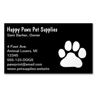 Dog Paw Print - White on Black Business Card Magnet