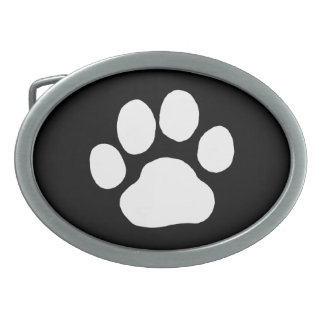 Dog Paw Print - White on Black Oval Belt Buckle