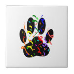 Dog Paw Print With Confetti And Streamer Ceramic Tile