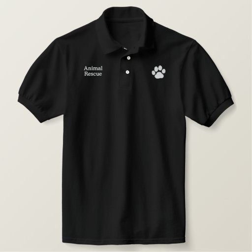 Dog Paw Print with Custom Text and Colors Embroidered Polo Shirt