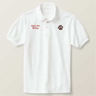 Dog Paw Print with Custom Text and Colors Embroidered Shirt