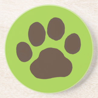 Dog Paw Print with Customizable Background Color Coaster