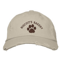 Dog Paw Print with Customizable Text & Colors Embroidered Baseball Hat