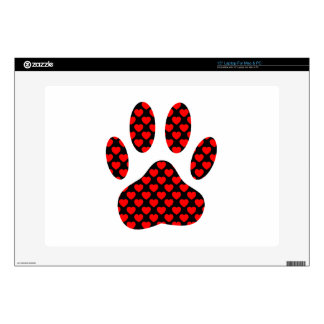 """Dog Paw Print With Hearts 15"""" Laptop Skins"""