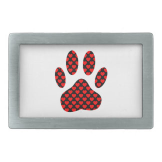Dog Paw Print With Hearts Belt Buckle