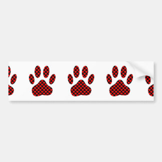 Dog Paw Print With Hearts Bumper Sticker