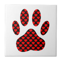 Dog Paw Print With Hearts Ceramic Tile