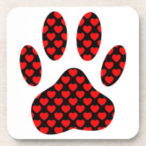 Dog Paw Print With Hearts Coaster