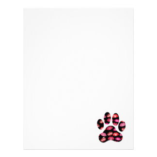 Dog Paw Print with Hot Lips Pattern Letterhead
