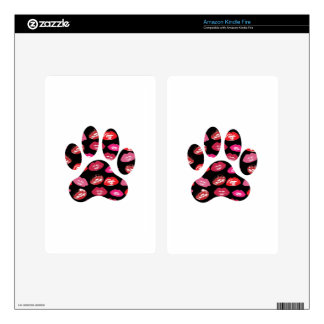 Dog Paw Print with Hot Lips Pattern Skin For Kindle Fire