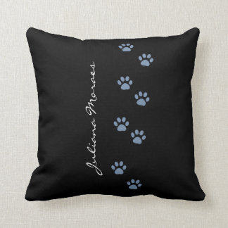 dog paw prints, black & personalized throw pillow
