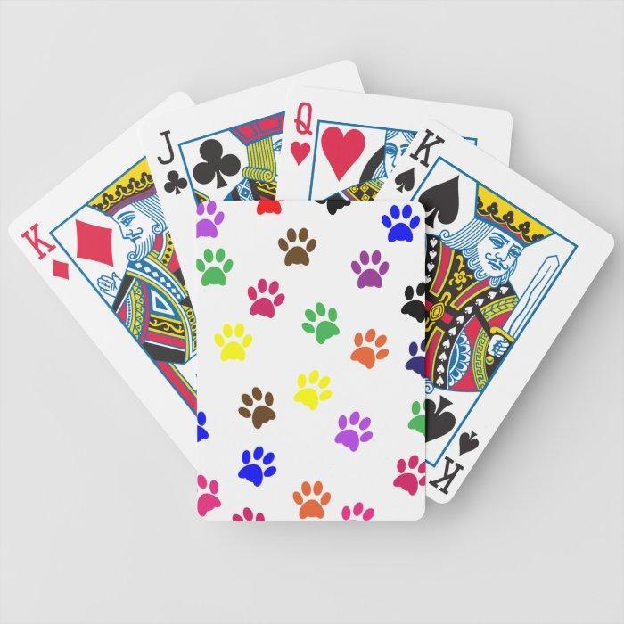 Dog paw prints colorful fun pet pawprints, gift bicycle playing cards