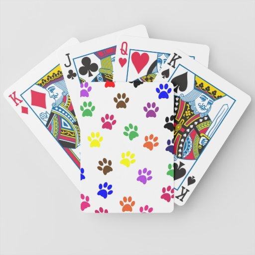 Dog paw prints colorful fun pet pawprints, gift card deck