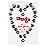 Dog Paw Prints Heart Card