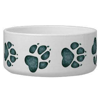 Dog Paw Prints in Splotchy Blue Green - Dog Bowl