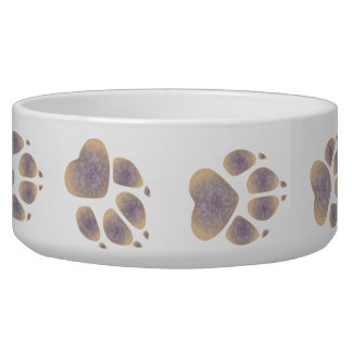 Dog Paw Prints in Splotchy Creamy Purple -Dog Bowl