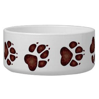 Dog Paw Prints in Splotchy Dark Red - Dog Bowl