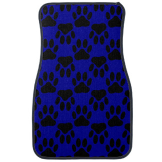 Dog Paw Prints On Blue Background Car Mat