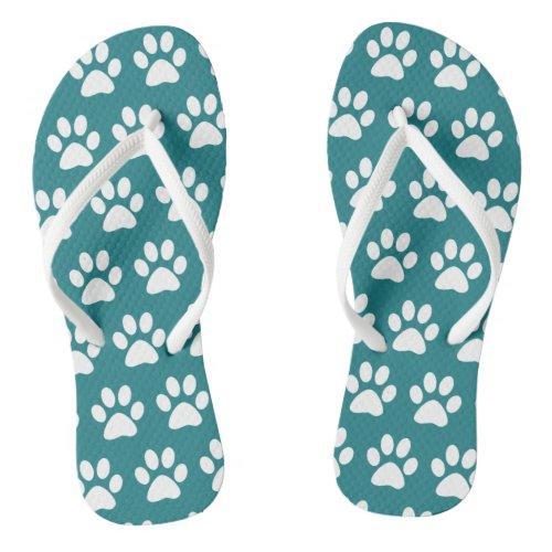 Dog Paw Prints On Blue, Green Turquoise Flip Flops