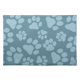 Dog Paw Prints on Blue Place Mat