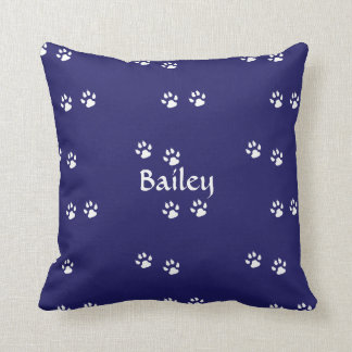 Dog Paw Prints on Blue: Template Throw Pillow