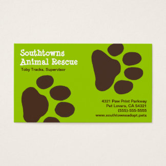 Dog Paw Prints on Green (Customizable) Business Card