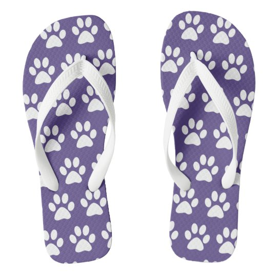 c9b846fbb76ea Dog Paw Prints On Purple Flip Flops