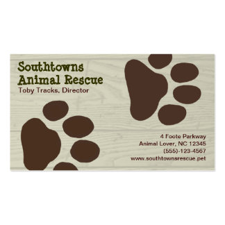 Dog Paw Prints on Wood Style Background Business Cards