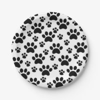 Dog Paw Prints Paper Plate
